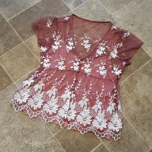 A&F women's size S sheer floral blouse